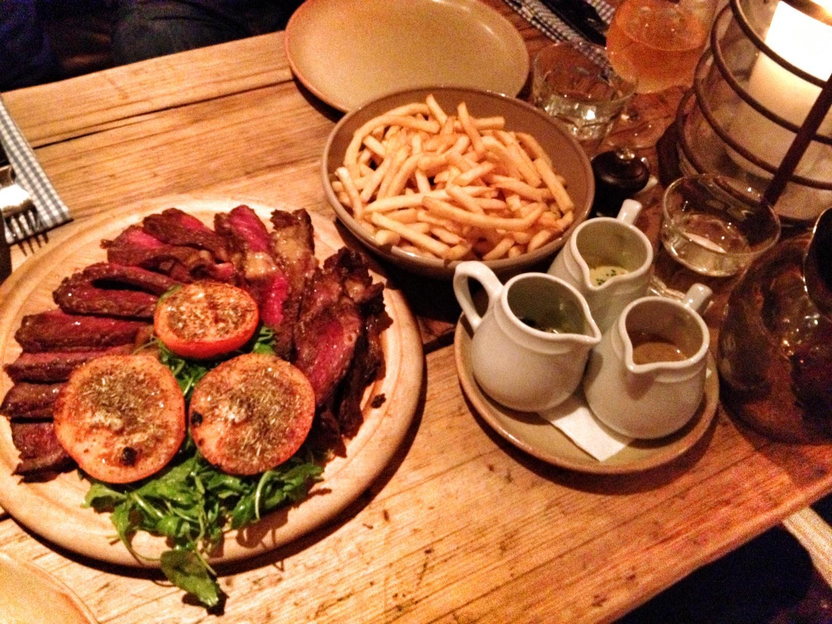 Plate of steak.  Keep the fruit.